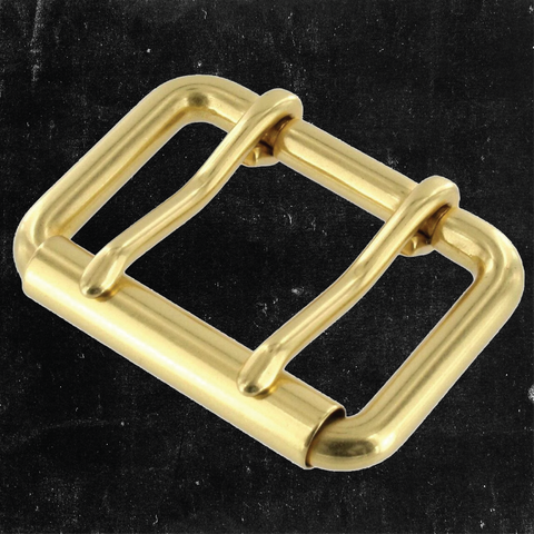 Double Prong Heel Bar Buckle Solid Brass 1 3/4""
