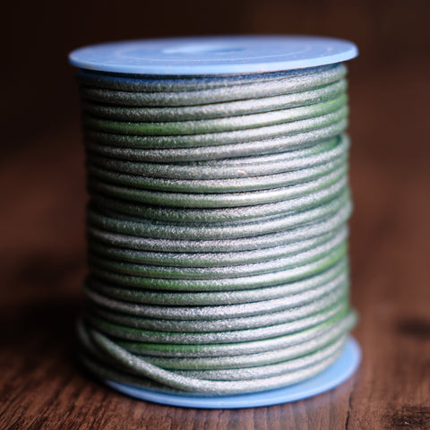 Gabarro Round Leather Cord - Pearlescent Green 3mm