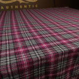 USA Textile - Wool Blend Plaid Grey / Fuchsia 7.5oz