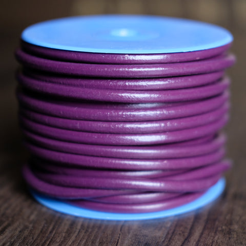 Gabarro Round Leather Cord - Purple 6mm