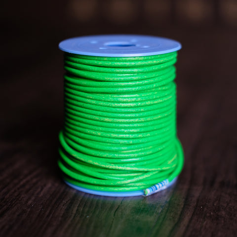 Gabarro Round Leather Cord - Fluorescent Green 3mm