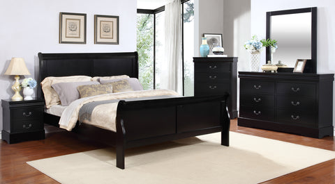 Louis Philippe Bedroom Set, Black – Tempo Clearance