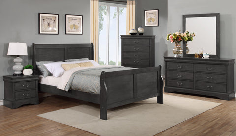 Louis Philippe Bedroom Set, Graphite – Tempo Clearance