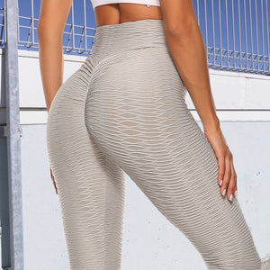 Womens Textured Yoga Sexy Sport Push Up Gym Leggings High Waist Fitness - LadyBeast