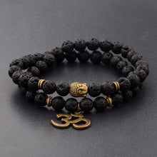 Load image into Gallery viewer, Charm Retro Buddha Bead Bracelet Black Natural Stone Chakra Bracelets - LadyBeast