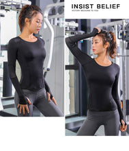 Load image into Gallery viewer, Gym Women Fitness T Shirt Long Sleeve Yoga Top Mesh Sport Wear - LadyBeast