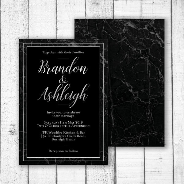 Classic Black Marble Wedding Invitation