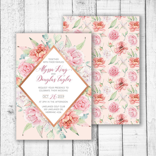 Pastel Roses & Rose Gold Wedding Invitation