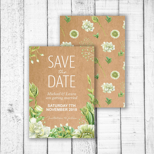 Green Foliage & Succulents Save the Date