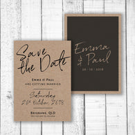 Black Handwriting on Kraft Card Save the Date