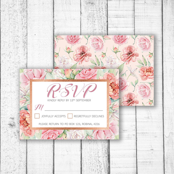 Pastel Roses with Rose Gold RSVP