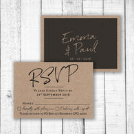 Black Handwriting on Kraft RSVP Card
