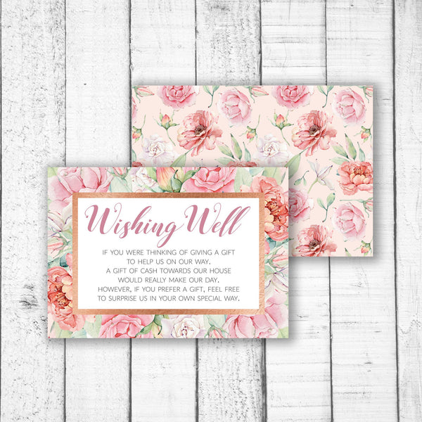 Pastel Roses & Rose Gold Wishing Well Card