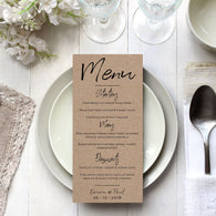 Black Handwriting on Kraft Card Invitation Menu