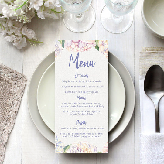 Sweet Peonies Menu