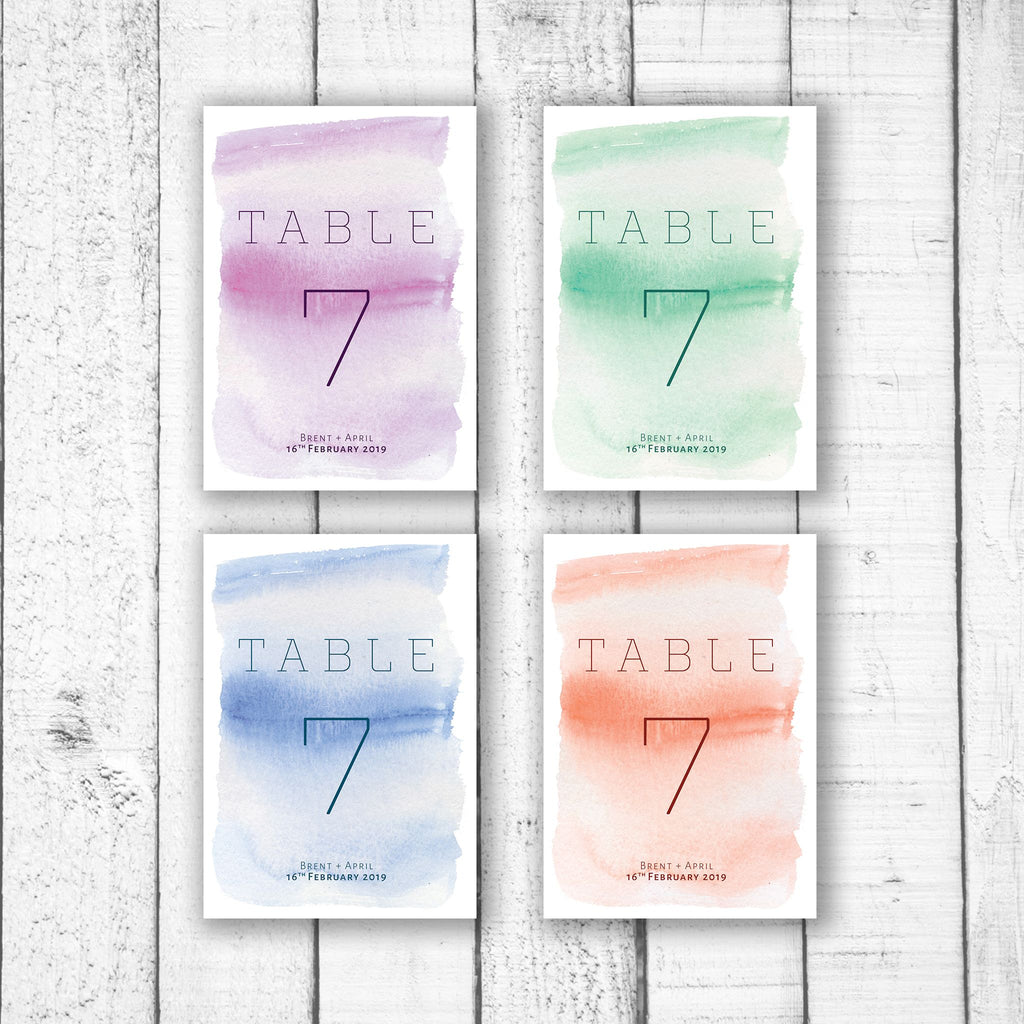 Light Watercolour Table Numbers