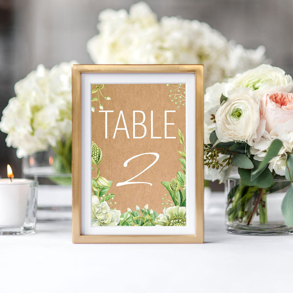 Green Foliage & Succulents Table Numbers
