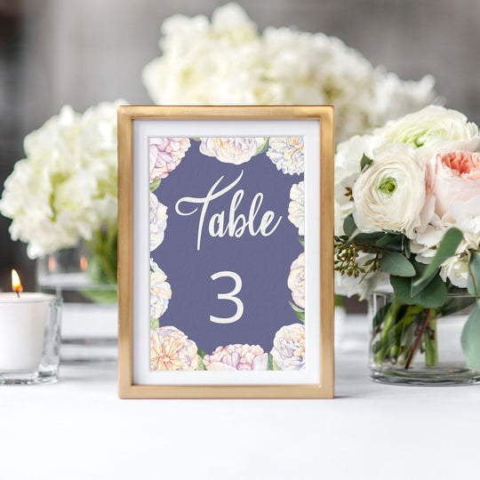 Sweet Peonies Table Numbers