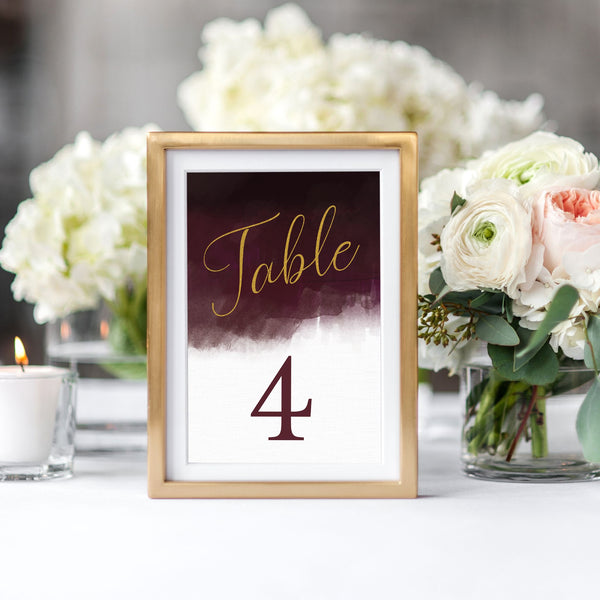 Luxe Watercolour Table Numbers