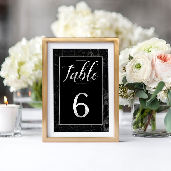 Classic Black Marble Table Numbers