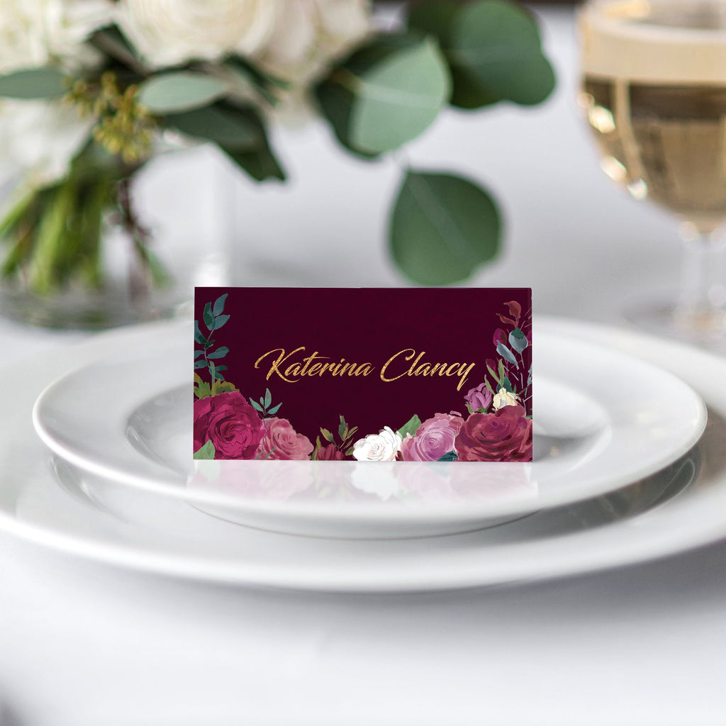 Romantic Roses Place Card
