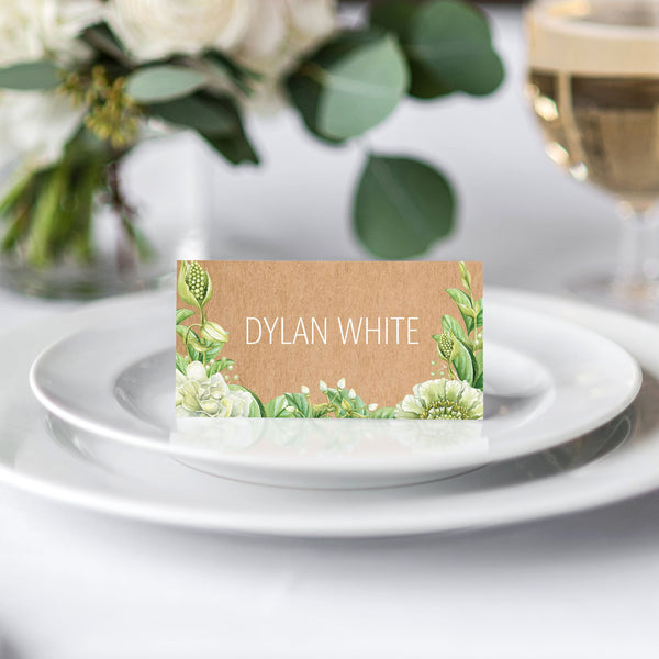 Green Foliage & Succulents Place Card