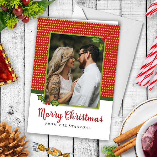 Custom Photo Christmas Card - Mistletoe