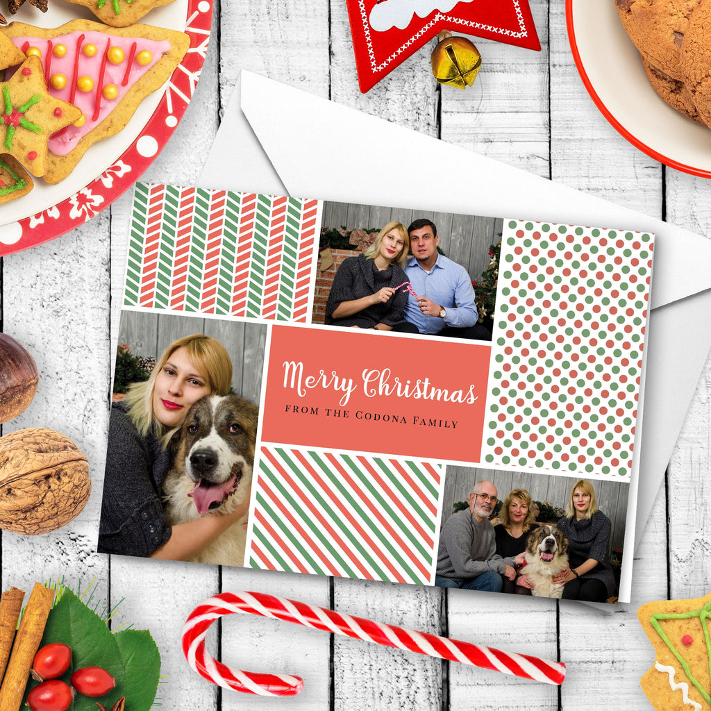 Custom Photo Christmas Card - Festive Patterns