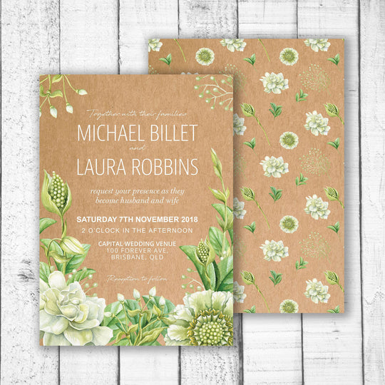 Green Foliage & Succulents Wedding Invitation