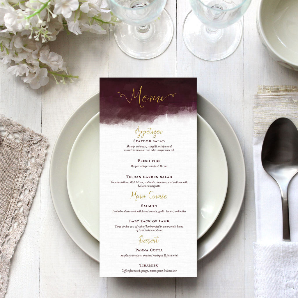Luxe Watercolour Menu