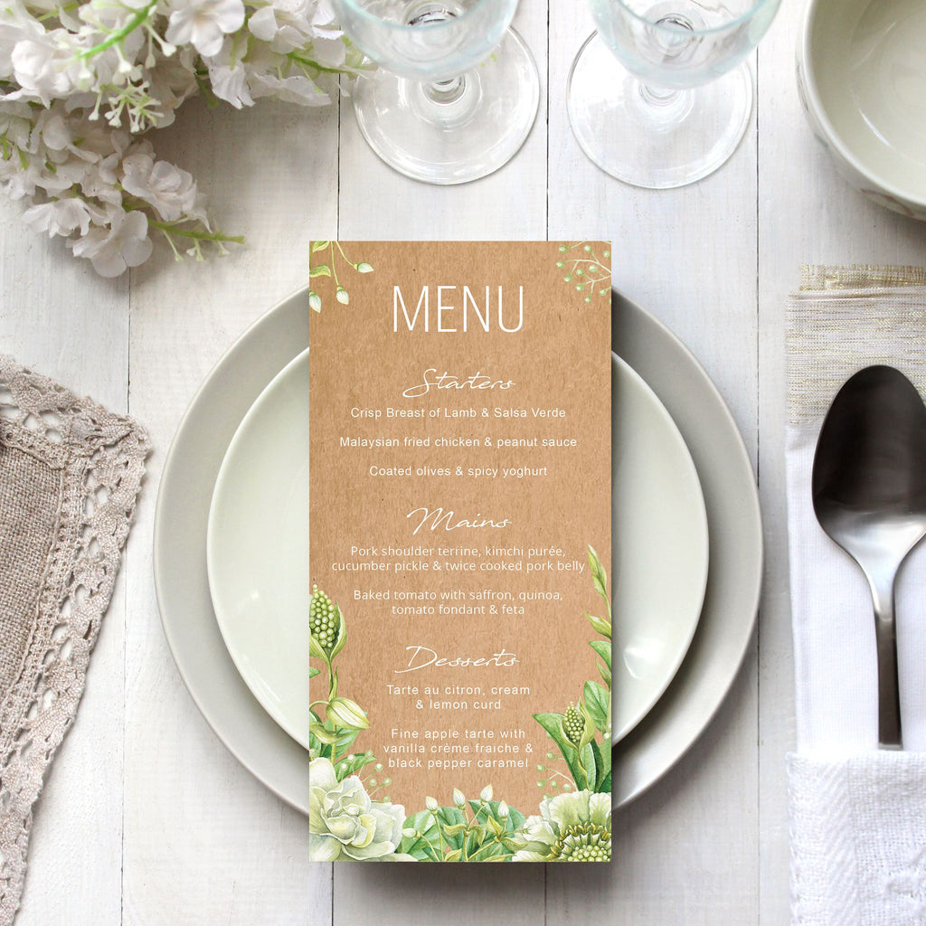 Green Foliage & Succulents Menu