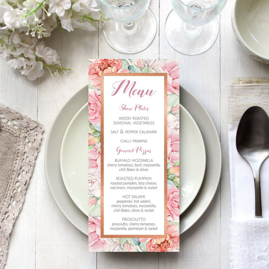 Pastel Roses & Rose Gold Menu