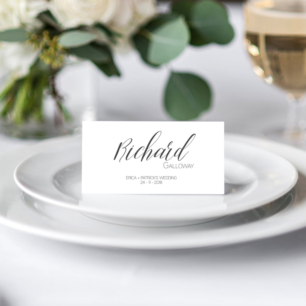 Simple Black & White Place Card