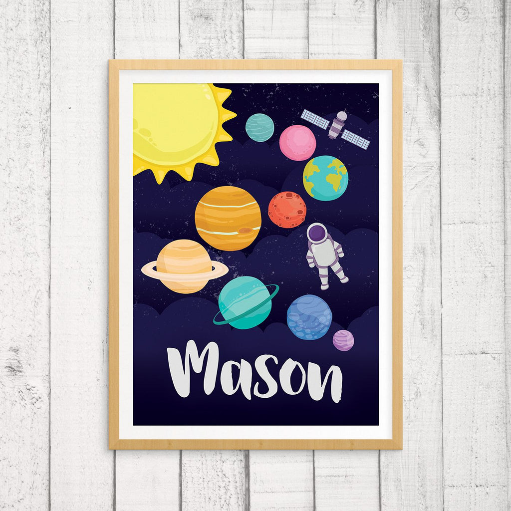 Custom Name Wall Art - Solar System Space Print