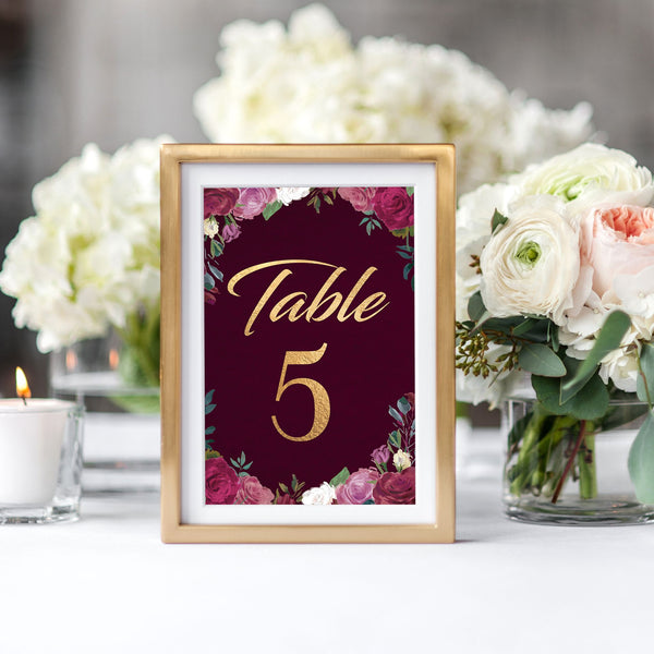 Romantic Roses Table Numbers