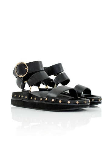 Studded Sandal - Black/Gold