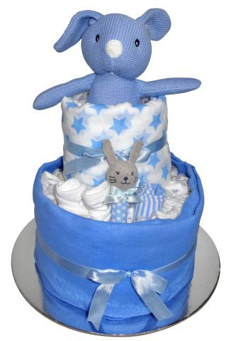 Knitted Bunny Nappy Cake - Blue