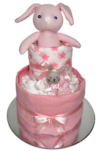 Knitted Bunny Nappy Cake - Pink