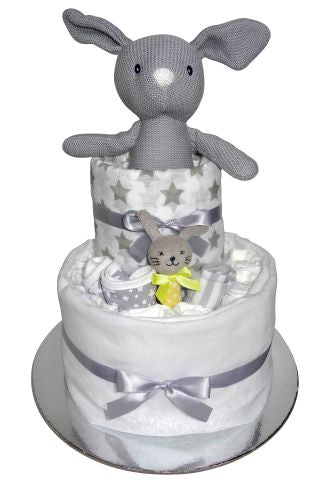 Knitted Bunny Nappy Cake - Unisex