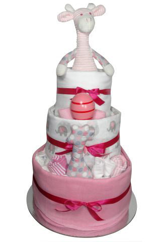 girls 3 tier nappy cakes adelaide, girls baby gift adelaide