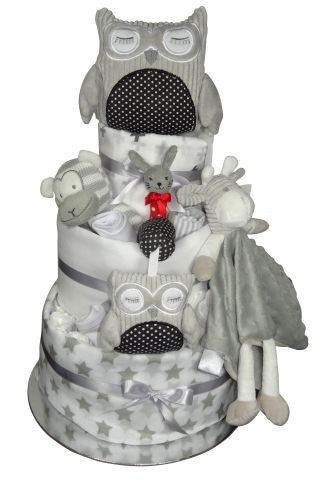 3 tier unisex owl nappy cakes adelaide, nappy cake delivery adelaide