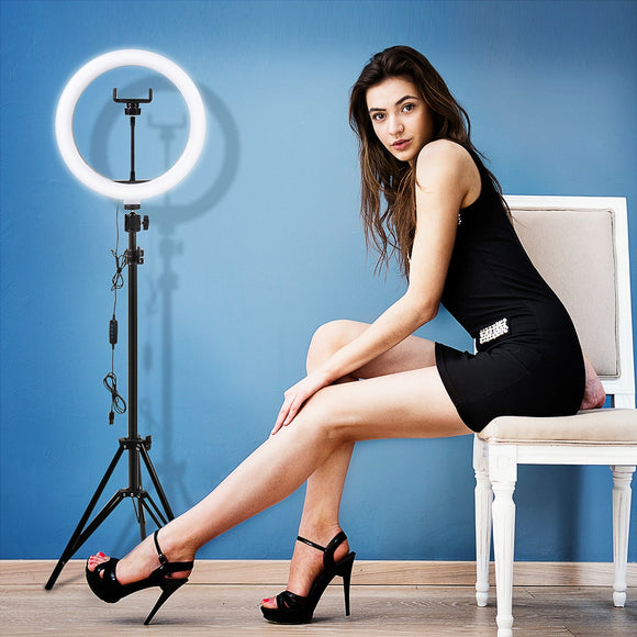 LED Video Selfie Ring Light With Tripod - DiscountTronics.com
