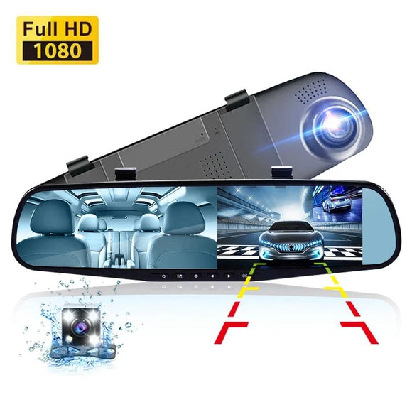 Rear View Mirror With Rear And Dash Cam - DiscountTronics.com