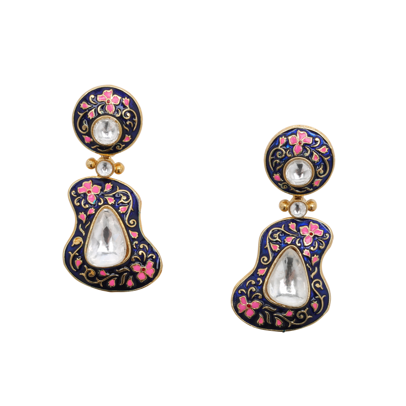 Meera Drop Earrings- Round - The Pink Bazaar