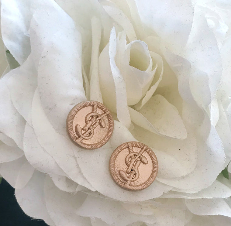 YSL Upcycled Vintage Button Earrings