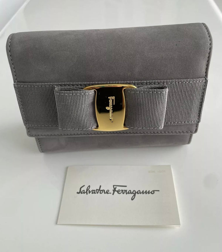 Vintage Salvatore Ferragamo Bow Gray Suede Bag