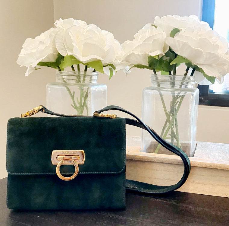 Vintage Salvatore Ferragamo Green Suede Bag