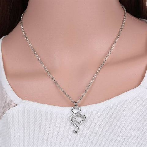 Sterling Silver Cute Cat Lover Gifts Animal Pendant Necklace