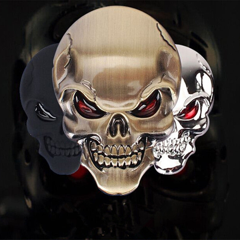 3D Metal Skull Stickers