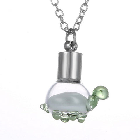 Image of Wish Glass Bottle Dandelion Turtle Necklace